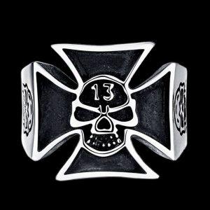 Bague Croix de Fer Bikers 13 Tête de Mort