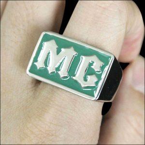 Chevalière MC verte (acier)