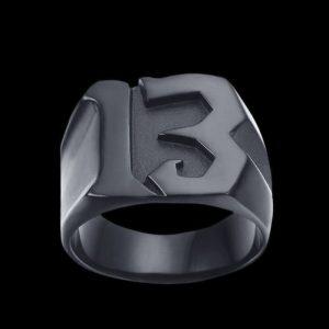 Chevalière Motard Sigle 13 (Noir)
